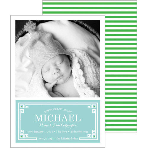 Aqua Blue + Green Greek Key Plaque Photo Birth Announcement Card
