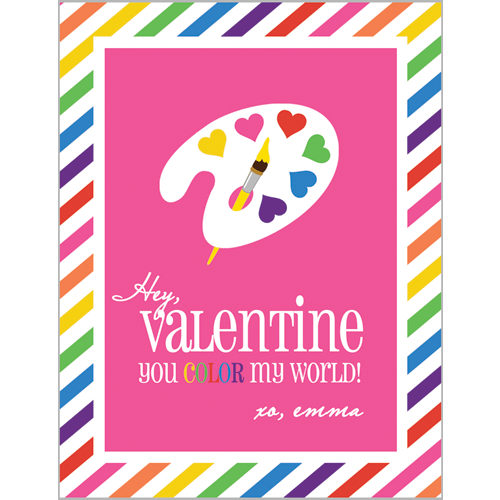 Colorful Art Palette Valentines for Kids