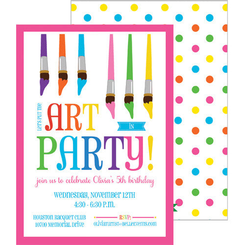 Art Party Double-Sided Invitation