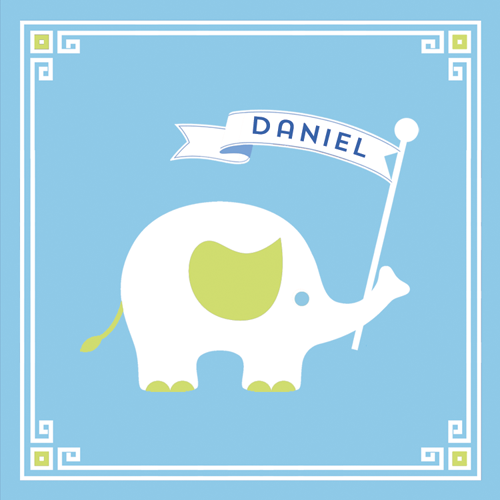 "2.5"" Square Baby Safari Birthday Elephant Sticker - Set of 24"