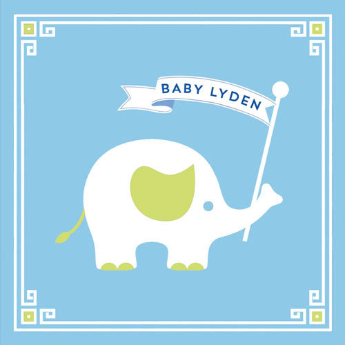 "2.5"" Square Baby Safari Blue Sticker with Elephant - Set of 24"