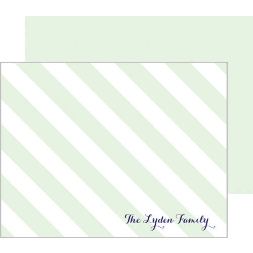 Classic Green Stripe Flat Notecards