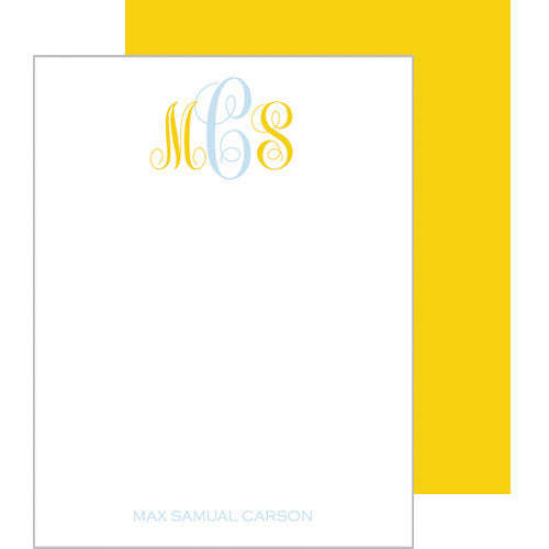 Blue & Yellow Monogram Flat Notecards