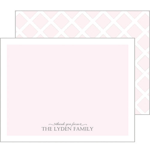 Baby Pink Thank You Flat Notecards