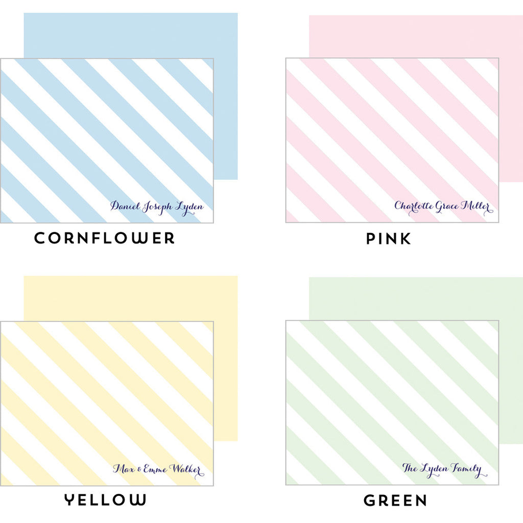 Baby Diagonal Stripe Personalized Flat Notecard - More Colors