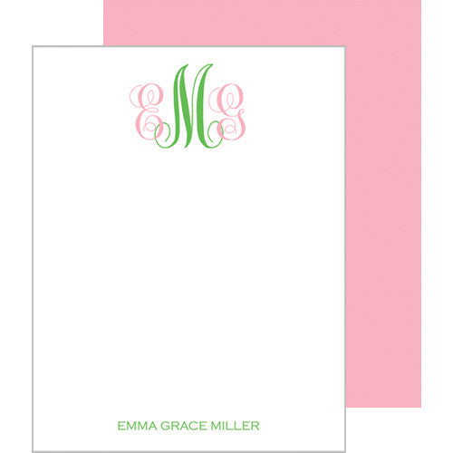 Baby Monogram Personalized Flat Notecards - More Color Options