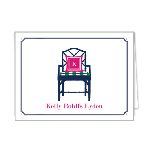 Bamboo Chair Personalized Folded Notecards