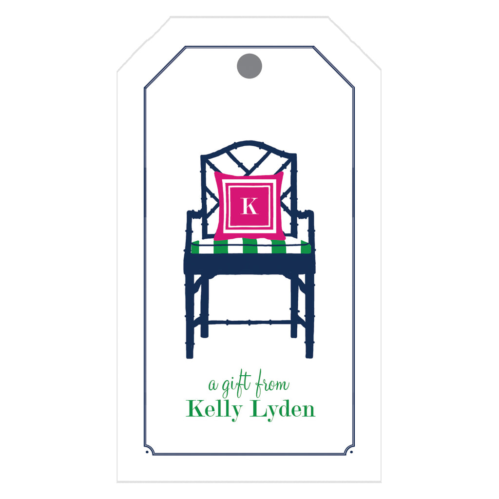 Bamboo Navy Blue Chippendale Chair Gift Tags