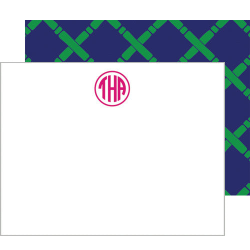 Bamboo Monogram Personalized Flat Notecards | More Color Options