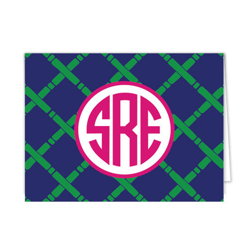 Bamboo Monogram Personalized Folded Notecards | More Color Options
