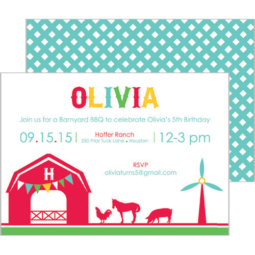 Barnyard Farm Animals Double-Sided Invitation