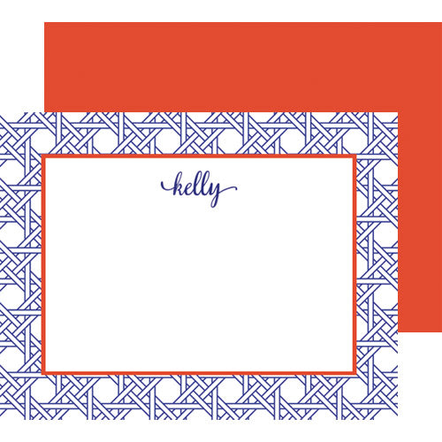 Basketweave Personalized Flat Notecards