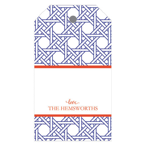 Basketweave Personalized Gift Tags | Cobalt + Orange