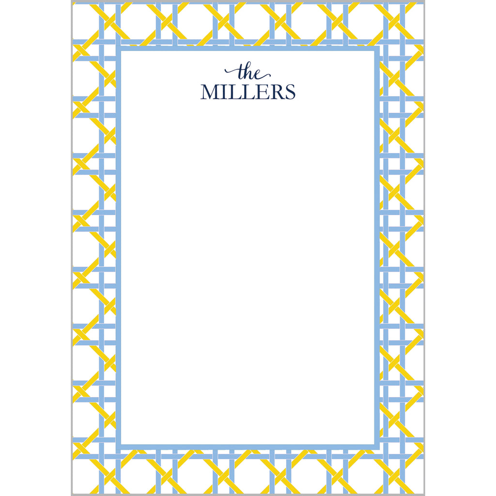 Basketweave Personalized Notepad | Yellow + Lt. Blue