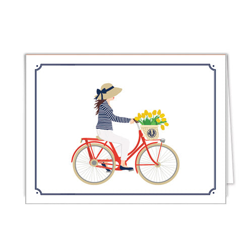 Preppy Bicycle Girl Personalized Folded Notecards