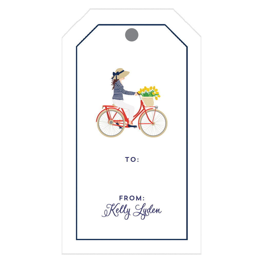 Preppy Girl on Bicycle Personalized Gift Tags