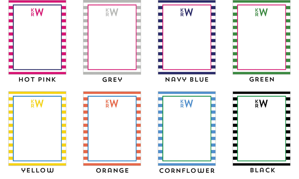 Rugby Stripe Monogram Personalized Notepad - Multiple Colors