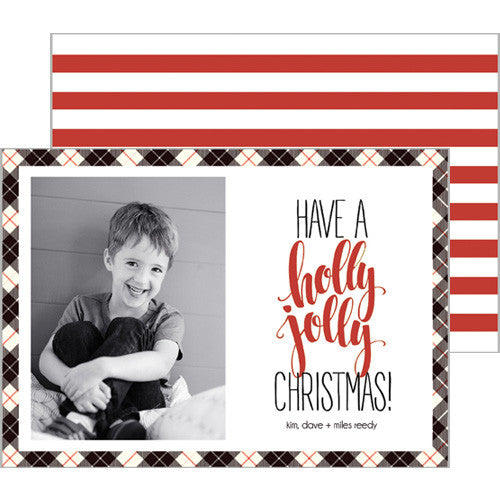 Black + Red Plaid Holiday Photo Card