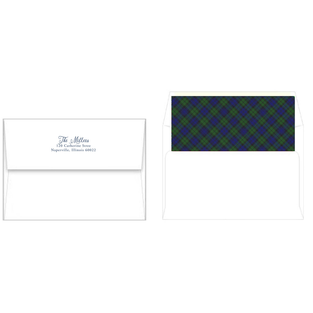 Black Watch Plaid Fretwork Holiday Photo Card