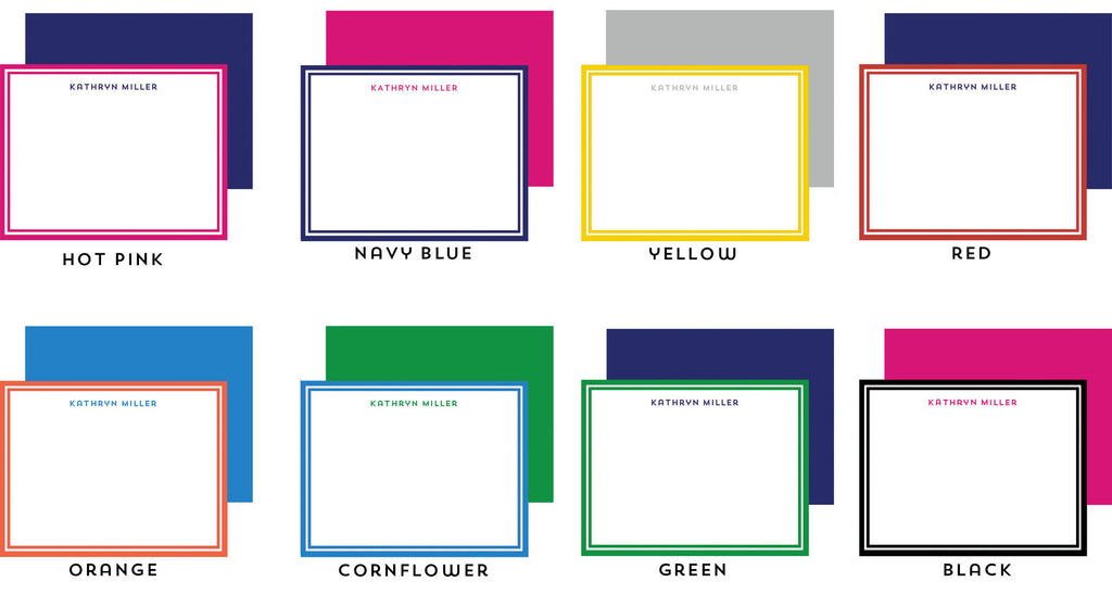 Block Letters Personalized Flat Notecards - More Color Options