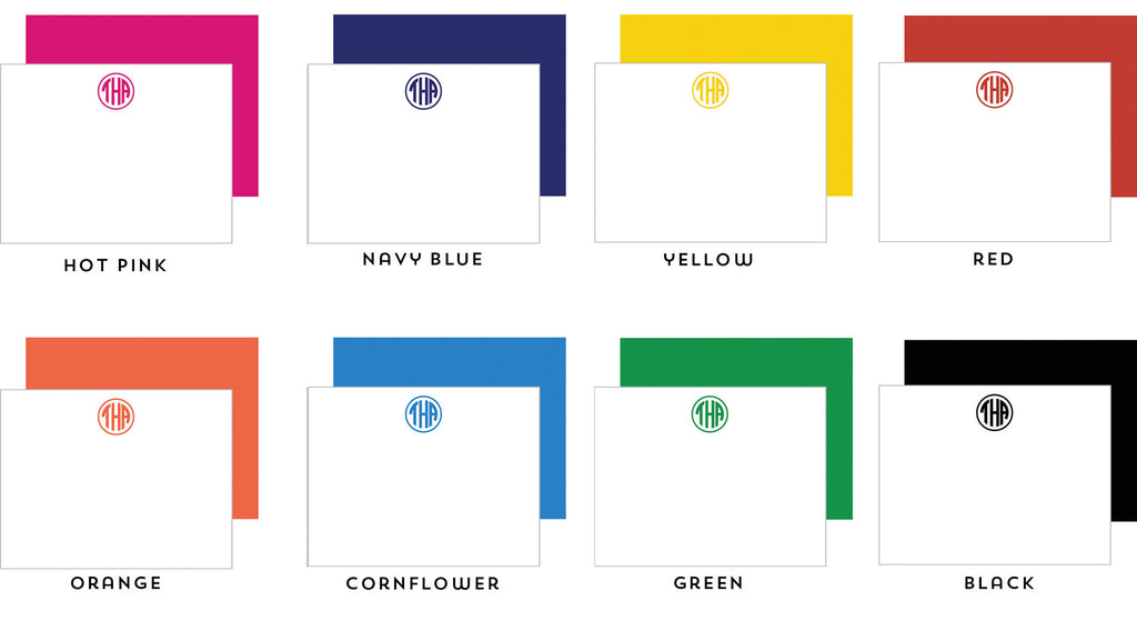 Block Monogram Personalized Flat Notecards - More Color Options