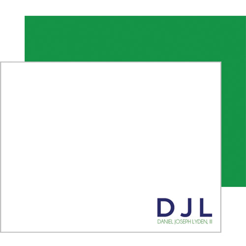 Block Initials Personalized Flat Notecards - More Color Options