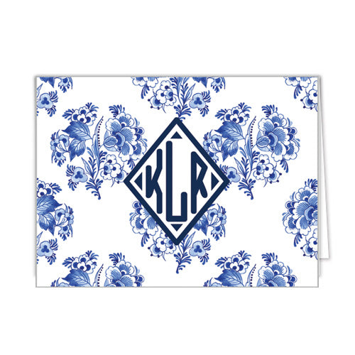 Blue and White Block Print Floral Monogram Personalized Folded Notecards