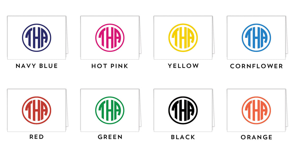 Block Monogram Personalized Folded Notecard - More Color Options