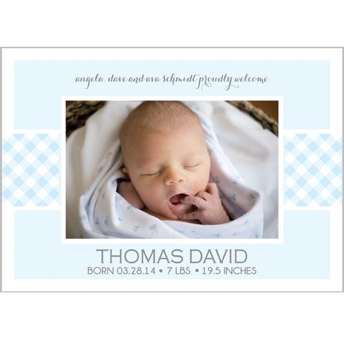 Classic Blue & White Gingham Band Photo Birth Announcement Card
