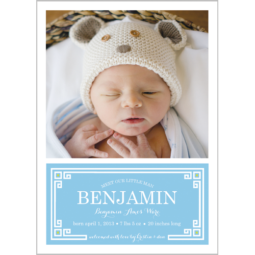 Blue Greek Key Plaque Photo Birth Announcement Card