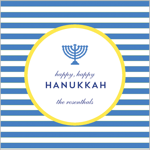 Menorah Stripe Hanukkah Square Gift Sticker
