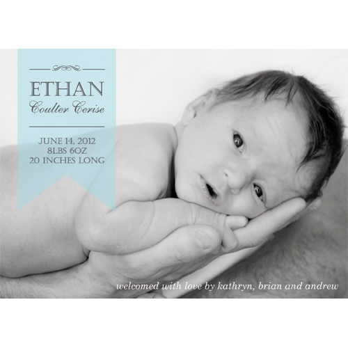 Blue Sheer Ribbon Horizontal Photo Birth Announcement Card
