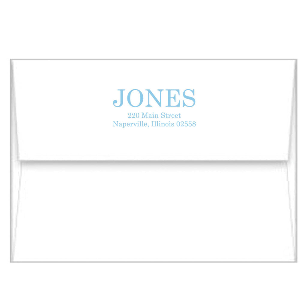 Blue + Chartreuse Greek Key Border Personalized Flat Notecards
