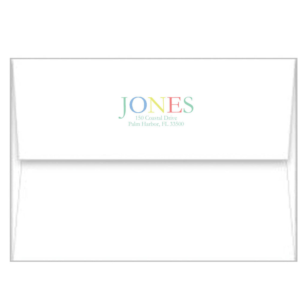 Blue Colorful Stripe Photo Birth Announcement Card