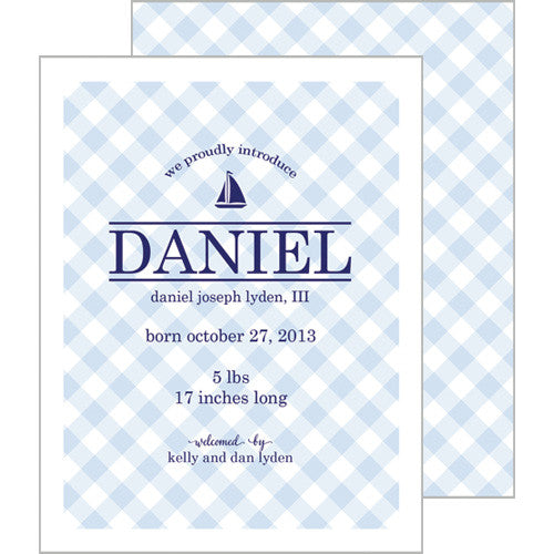 Blue Gingham A2 Birth Announcement Card