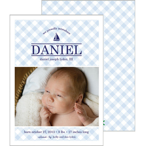 Blue Gingham Check Photo Birth Announcement Card | Multiple Icon Options