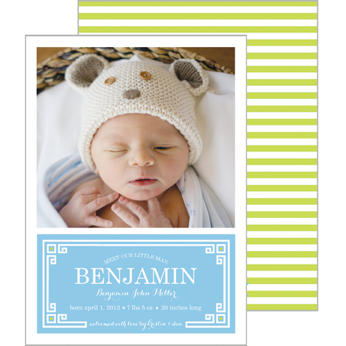 Blue + Chartreuse Greek Key Plaque Photo Birth Announcement Card