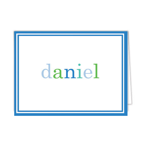 Blue Colorful Text Personalized Folded Notecards