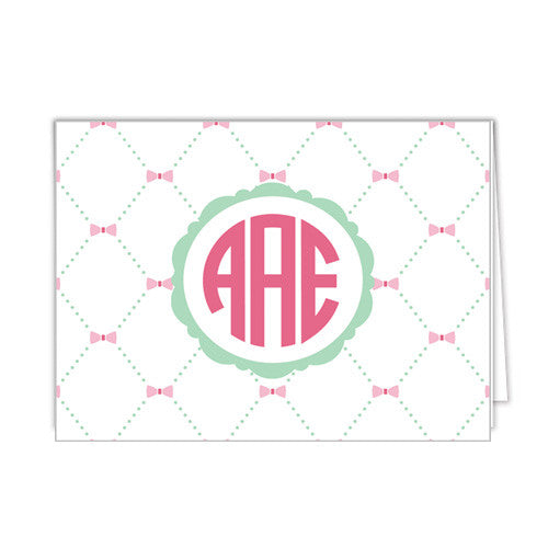 Bow Lattice Personalized Folded Notecards