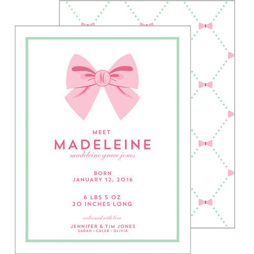 Bow Lattice A2 Birth Announcement Card