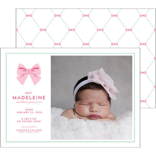Bow Lattice Photo Birth Announcement Card