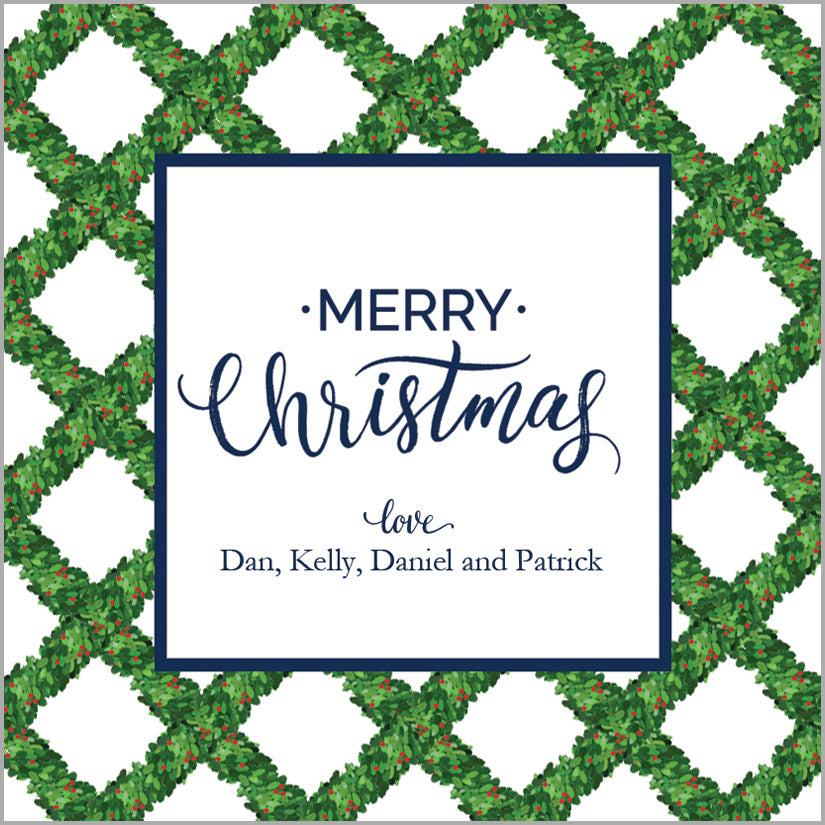 Boxwood Lattice Personalized Christmas Gift Stickers | Set of 24