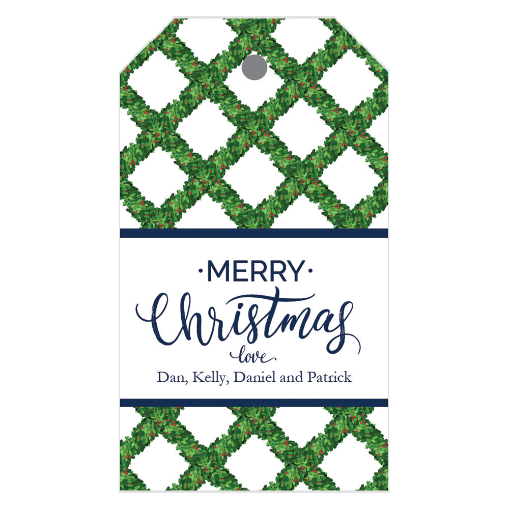 Christmas Boxwood Lattice Personalized Holiday Gift Tags