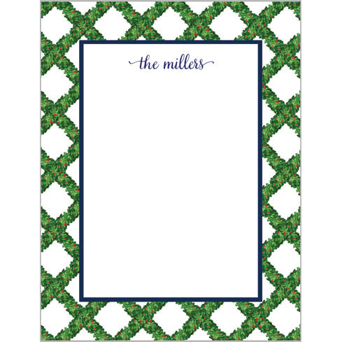 Boxwood Lattice Personalized Notepad