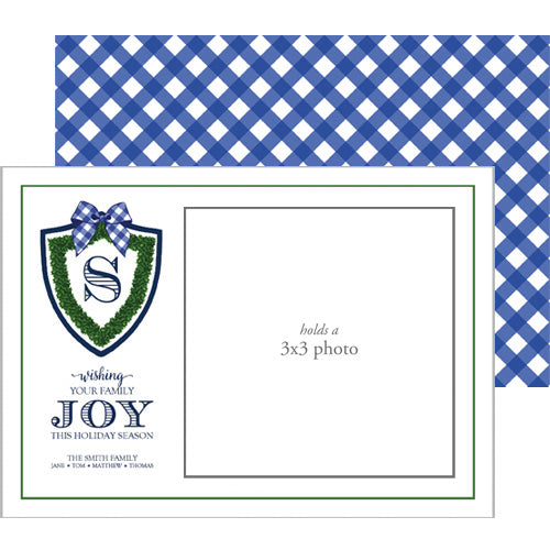 Photo Mount Holiday Photo Card | Boxwood Shield with Gingham Bow