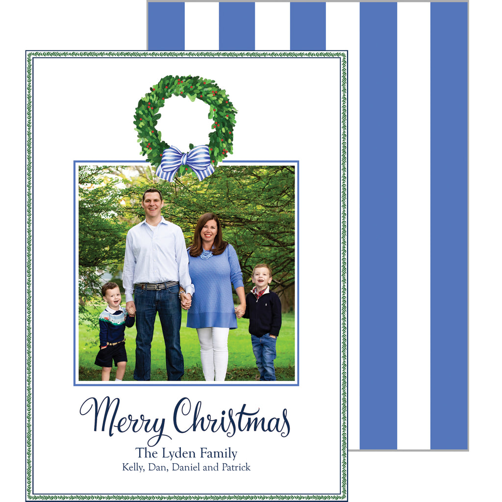 Boxwood Wreath with Blue Striped Bow Holiday Photo Card