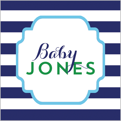 "2.5"" Square Preppy Animals Navy Stripe Stickers - Boy"