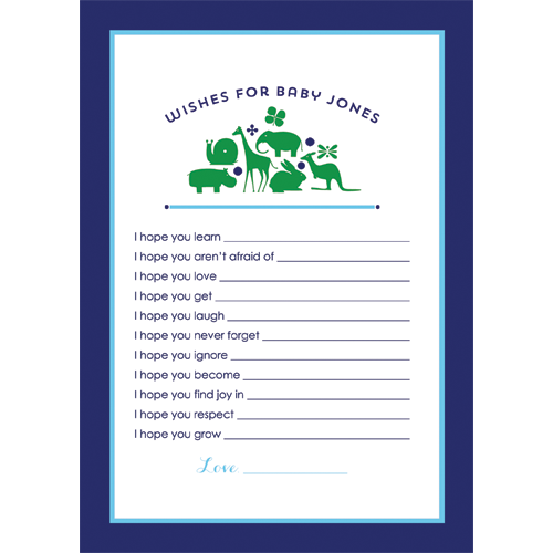 Preppy Animal Silhouettes Wishes for Baby Cards - Boy