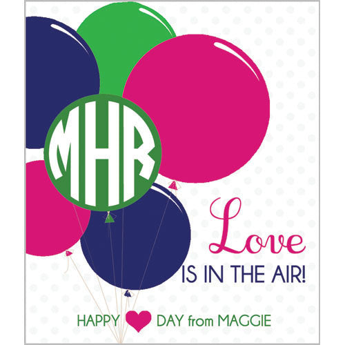 "Monogram Balloons ""Love is in the Air"" Kids Valentines - Brights"