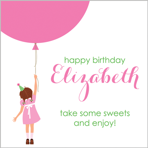 "2.5"" Square Classic Birthday Girl & Balloons Stickers"